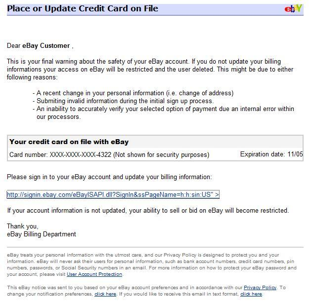 What Is Phishing EBay Phishing Examples - Ebay message templates