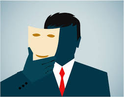 masquerade image shows business man taking a mask off