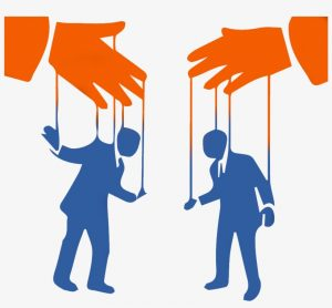 This image shows two people being manipulated by strings - Vishing 101